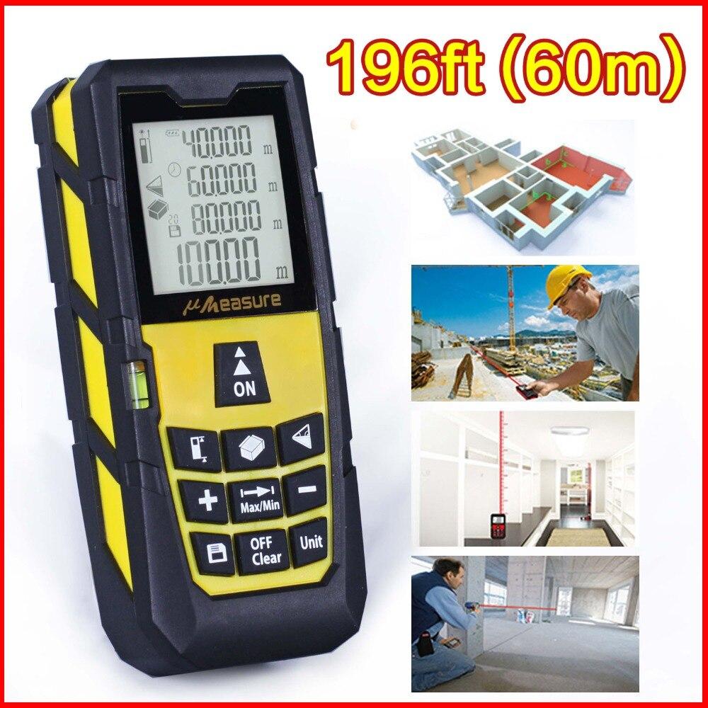 Yellow 196ft (60m) Laser Distance Meter Laser Rangefinder Laser Range Finder Digital Tape ruler Measure Area/volume Tool  цены