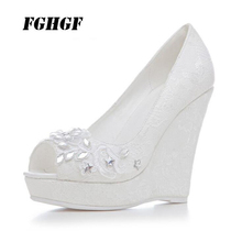 High heels The fishs mouth wedge Waterproof Taiwan Wedding shoe Lace the banquet Bridesmaid sexy Big yards 43