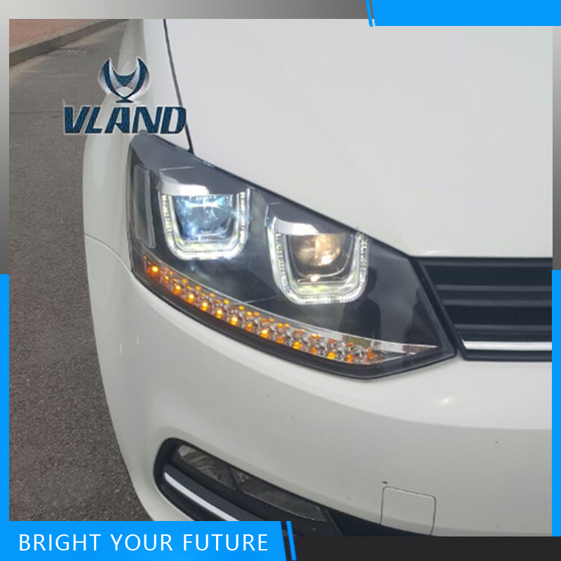 Car Styling Headlights for For VW Volkswagen POLO GTI 2010-2016 Headlights DRL Bi Xenon Lens UU Style DRL Assembly for volkswagen polo mk5 vento cross polo led head lamp headlights 2010 2014 year r8 style sn