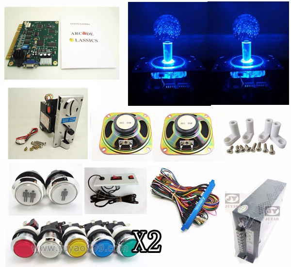 coin operated lighting set for 60 in 1 arcade multi game board with silver lighting button, power supply, speaker,  jamma wire original pandora box 4s plus 815 in 1 jamma harness arcade game cartridge jamma multi game board with vga and hdmi output