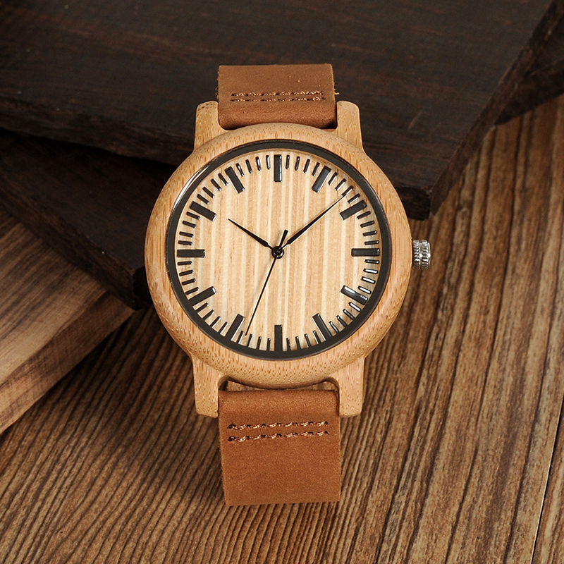 Quartz Wristwatches Gift-Box Custom-Logo Bamboo Bobo Bird Wooden Saati Kol Masculinos