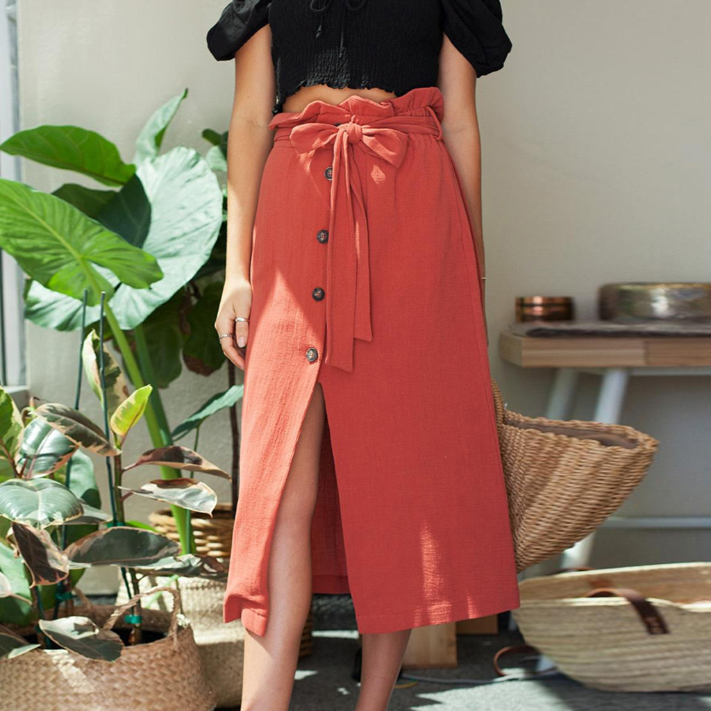 Women Summer Casual Linen Bohe High Waist Button Belt Cotton Linen Beach Sashes Empire Wrap Long Straight Mid-Calf Skirt 50