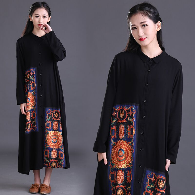 edc21203019 Long Shirt Dresses Women Linen Dress Collar Black Long Maxi Dress Long  Sleeve Black Muslim Robe Longue Femme Print Indian Dress