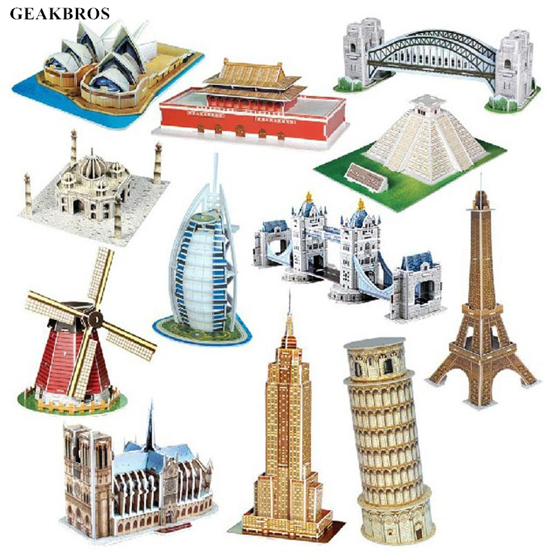 DIY 3D Paper Building Puzzle Model Assembled Brain Teaser Learning Educational Games Toys For Children Jigsaw Kids Toys Gift