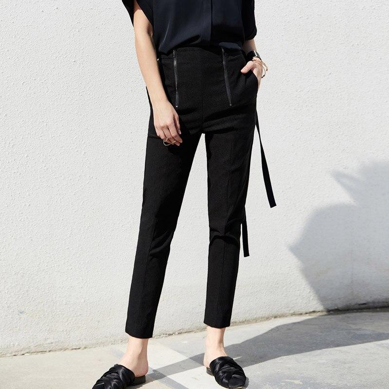 Amii Minimalist Office Lady Chic Port Style Casual Pants 2019 Autumn New Zipper Trim Trousers