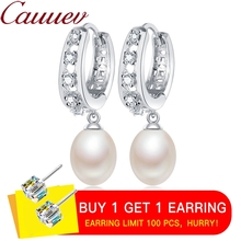 AAAA Top Quality 100% Natural  Freshwater Pearl Drop Earrings For Women Fashion Elegant Party Zircon 925 Sterling Silver Jewelry