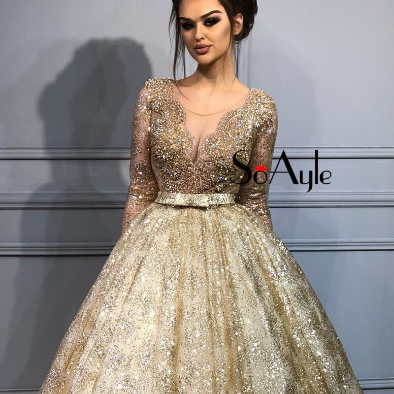 60dc687319d9 SoAyle Sheer Ball Gown 2018 Prom Dresses Illusion Gold Lace Heavy Beading  Evening Dresses Long Vestidos De Festa Graduate Dress-in Prom Dresses from  ...