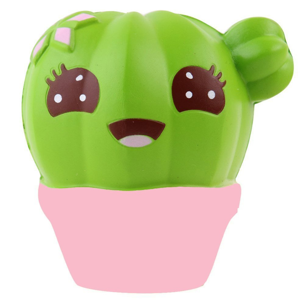 2018 Cute Cream Scented Cactus Squishy Slow Rising Strap Squeeze Toy Anti Stress Kawaii Squishies Novelty Gifts FunToys For Kids