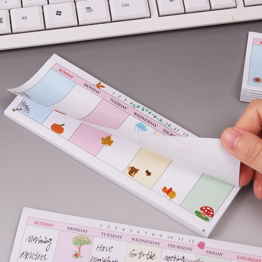 1PC About 40 Sheets Cute Stickers Kawaii Self-adhesive Sticky Notes Stationery Planner Memo Pad Weekly Plan Notepad Sticker