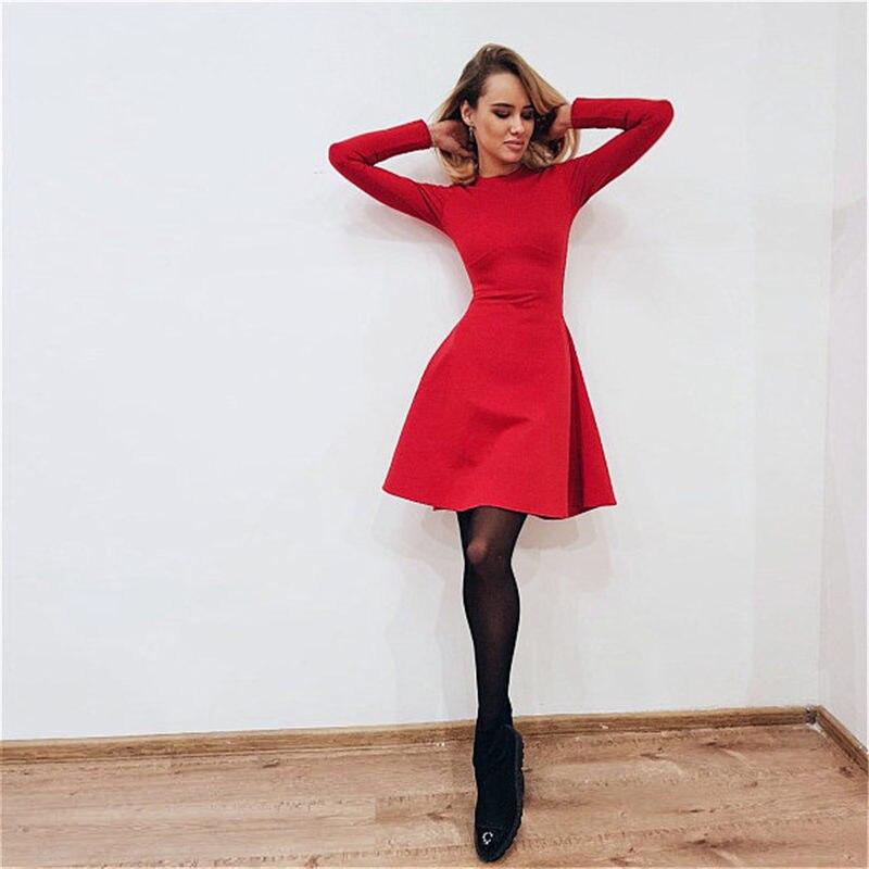 59dca6173 Otoño moda mujer manga larga Bodycon cuello redondo Casual vestido invierno  Vintage Sexy Mini Vestidos de fiesta otoño ropa Vestidos