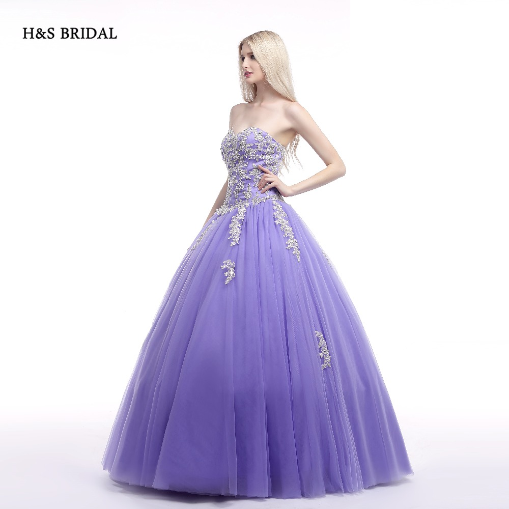 Hs Bridal Ball Gown Purple White Lace Appliques Prom Dresses Sweet
