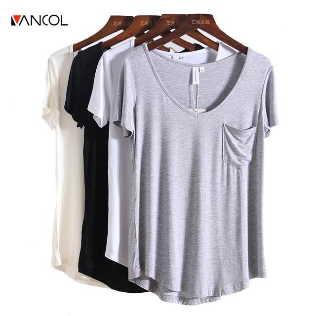 Vancol 2017 plus size mulheres roupas soltas v pescoço curto manga feminino modal t camisa branca em branco cor sólida tshirt mulheres