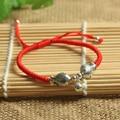 925 Sterling Silver Adorável Peixe Sorte Corda Vermelha Pulseira Shambala Handmade Pulseira Corda Cera Amuleto Jóias