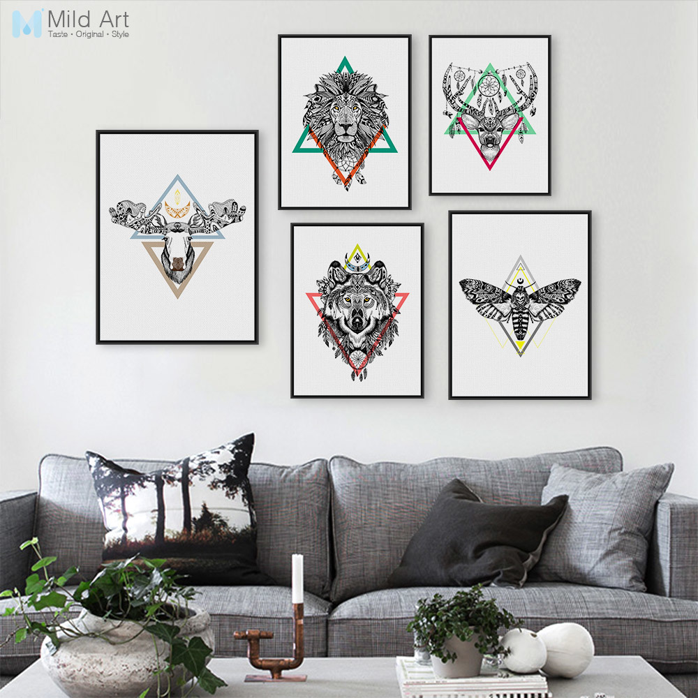 modern nordic deer lion head animals poster indian feather wall picture hippie vintage home. Black Bedroom Furniture Sets. Home Design Ideas
