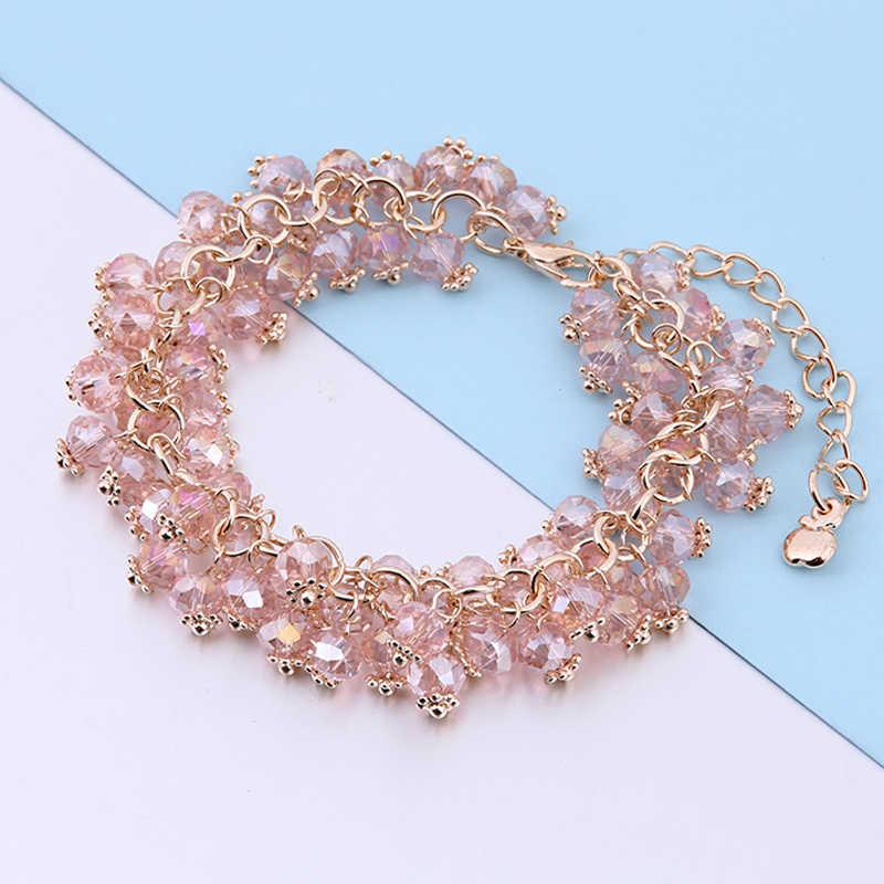 ELESHE wielowarstwowa z charmsami bransoletki i bransolety kryształowe koraliki przyjaźni bransoletki dla kobiet złoty kolor kobiety bransoletka biżuteria