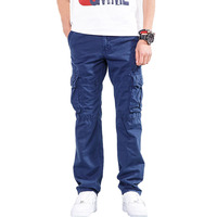 Drop Shipping 2018 new autumn men cargo pants with many pockets cotton workwear trousers 29 40 AXP118