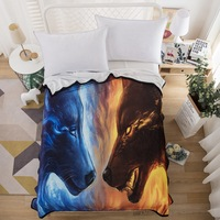 Fire and Ice by Hooded Blanket 3d Wolves for Adults Wearable Throw Blanket Microfiber 150x200 Blue Wolf