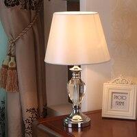 Table Lamp Lamps Shades Shade Desk Nightlights Crystal Bedside Light K9 Clear Crystal Farbic Led Desk Lamparas