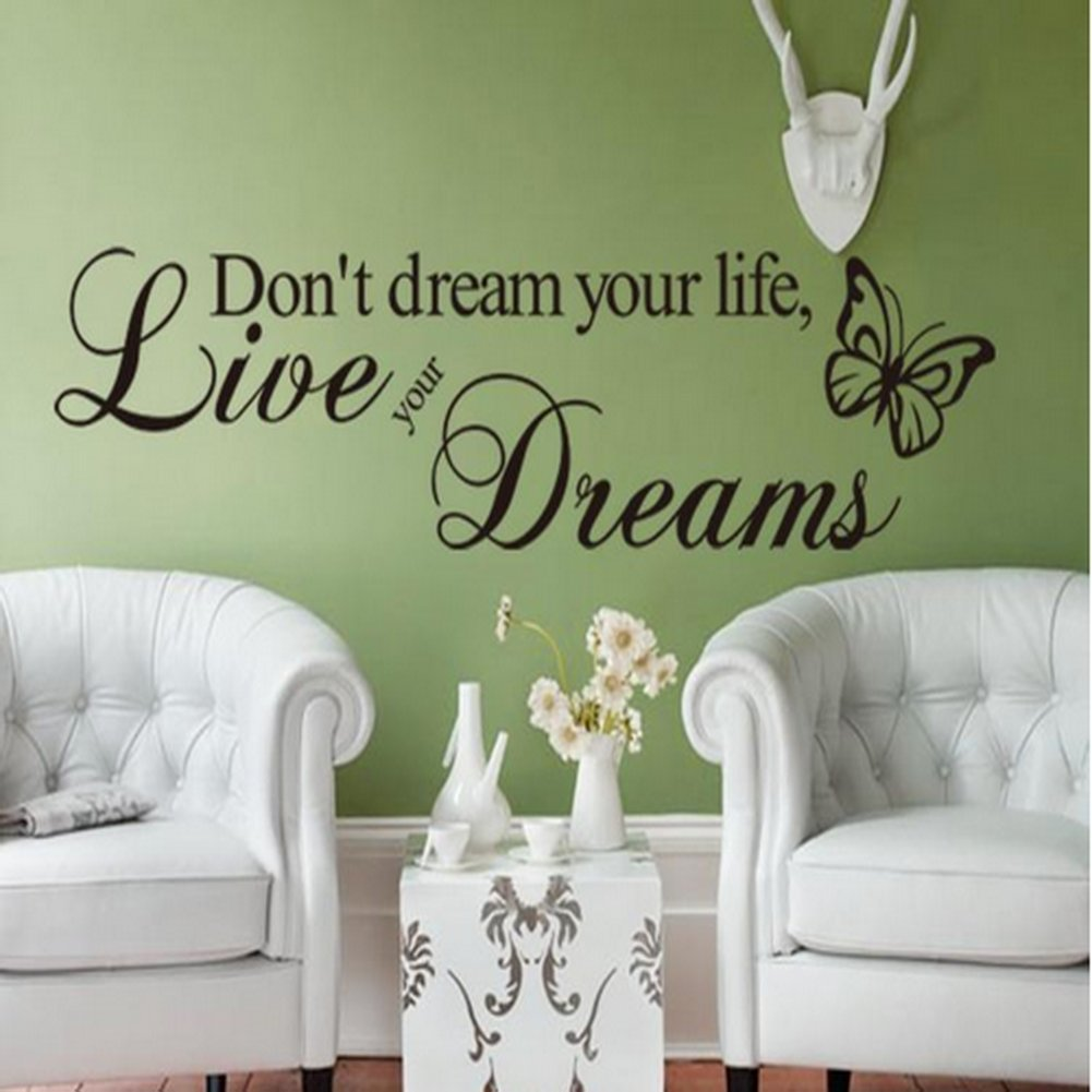 Removeable Vinyl Decal Dont Dream Your Life,Live Your Dream Words Black ...
