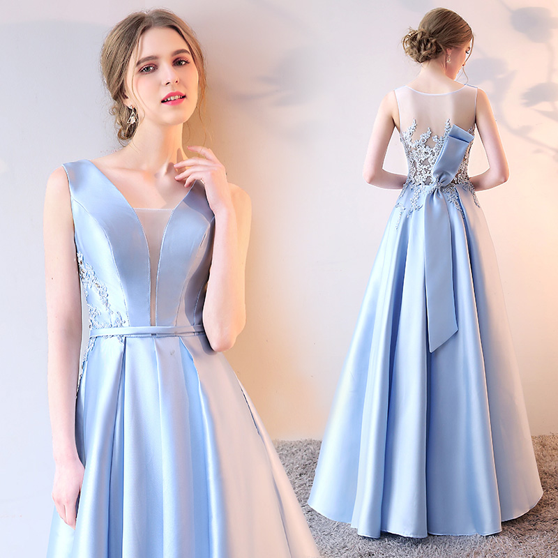 1254756b287a SSYFashion Summer New Evening Dress The Bride Luxury Light Blue Satin V  neck Elegant Lace Prom Party Gown Reflective Dress-in Evening Dresses from  Weddings ...