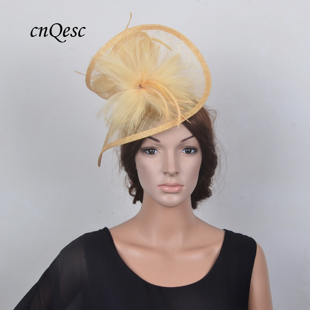 1e7b349a New BIG Champagne gold church wedding hat Sinamay fascinator hatinator  fedora w/feather flower for Ascot,Kentucky Derby,wedding