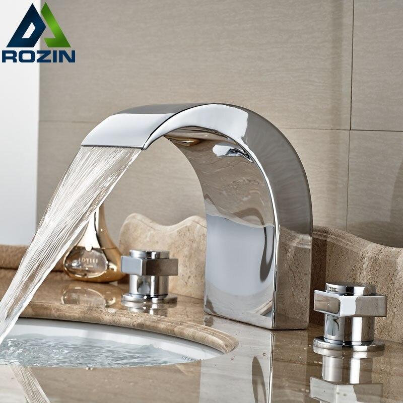 Newly Wall Mount Bath Shower Faucet w Hand Shower Antique Brass 8 Rain Shower Mixer Tap
