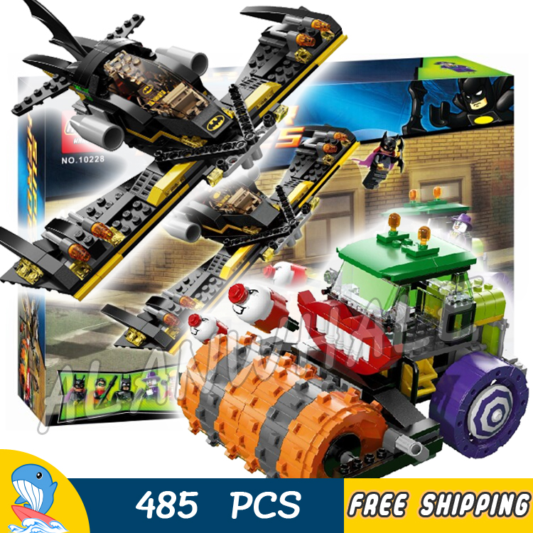 485pcs Super Heroes Batman Movie The Joker Steam Roller Batwing Robin 10228 Model Building Blocks Toy Brick Compatible With lego