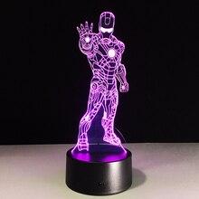 Top sale Iron Man Colorful gradient font b 3D b font night font b light b