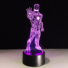Top sale Iron Man Colorful gradient 3D night light Creative remote control or touch switch night light led table lamp