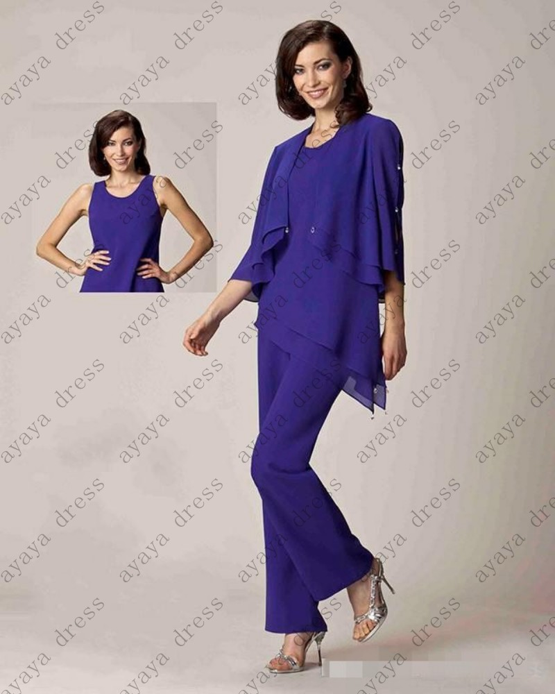 Elegant wedding pant suits - Aliexpress Com Buy Wejanedress Purple Pant Suit Elegant Wedding Pant Suits With Jacket 2017 Mother Of The Bride Pant Suits Three Pieces From Reliable