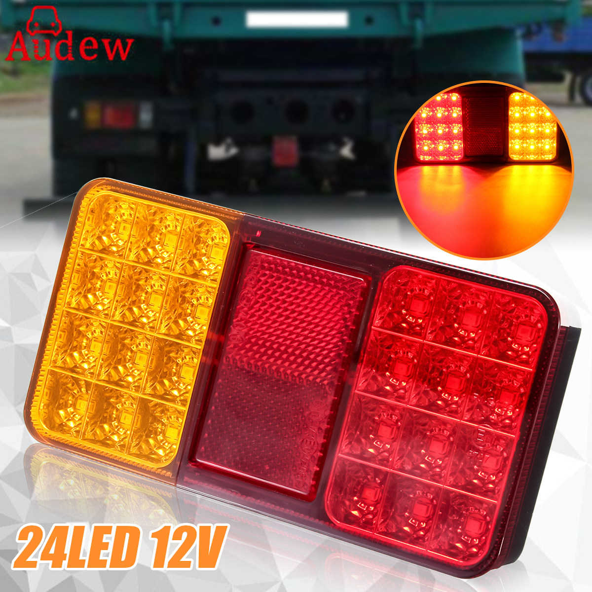 24LED 12V Trailer Truck Rear Lights Brake Stop Tail Turn Indicator LED Lamps For Car Trailers Trucks Utes Boats vehemo 12v 40 led truck car trailer rear tail light stop indicator turn signal lamp