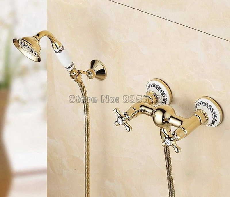 Bathroom Wall Mounted Luxury Gold Color Brass Faucet with Handheld Shower Head Dual Cross Handles Mixer Tap Wtf405