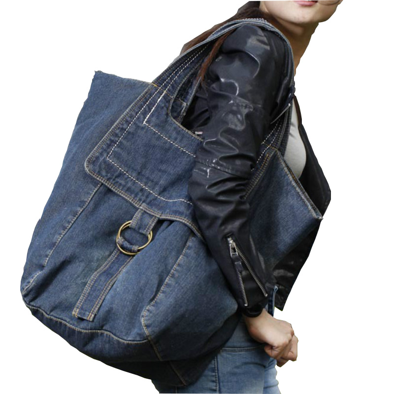2019 New Denim Women s Bag Jeans Bags Cowboy Zipper Personality Large capacity casual female solid