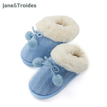 Winter Home Women's Slippers Plush Warm Knit Hair Ball Cotton-padded Shoes Thicken Anti Slip Fleece High Quality Woman Shoes