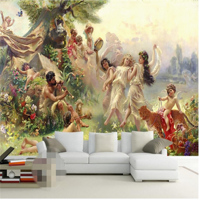 beibehang Wallpaper Mural Wall Sticker European Classical Oil Painting Angel Paradise Party Dancing Mural Background Wallbeibehang Wallpaper Mural Wall Sticker European Classical Oil Painting Angel Paradise Party Dancing Mural Background Wall