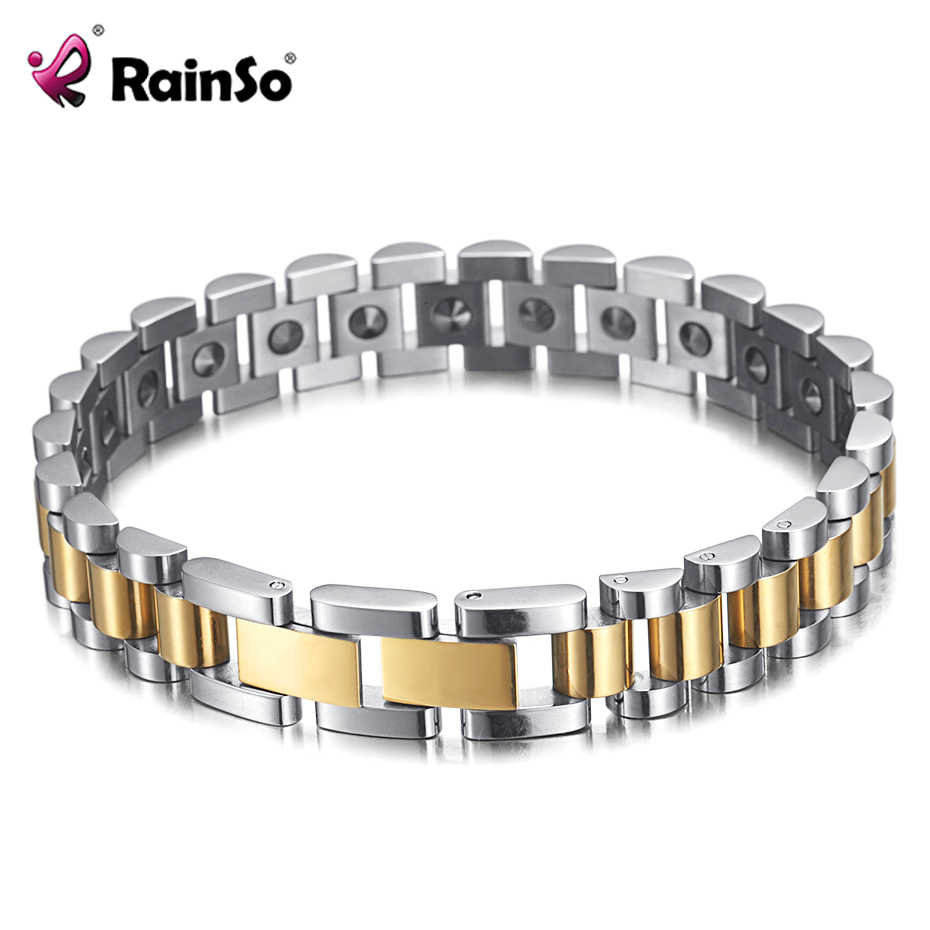 Pulsera RainSo 99.999% de germanio puro para mujeres, Popular en Corea, acero inoxidable, salud, energía magnética de germanio, joyería