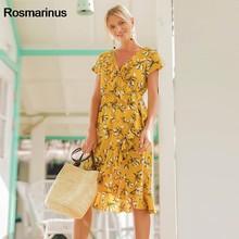 c66852653c84 Rosmarinus Floral Print Yellow Dress Women Summer V Neck Short Sleeve  Ruffles Bohemian Beach Dress High Waist Boho Midi Dresses