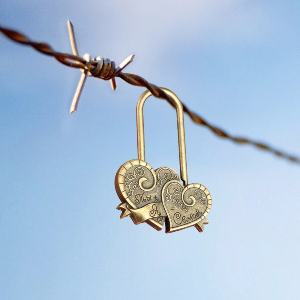 OurWarm 10pcs Marriage Souvenir Wedding Gift Concentric Wish Locks Engraved Double Heart Love Locks You+me=family Castle Wedding