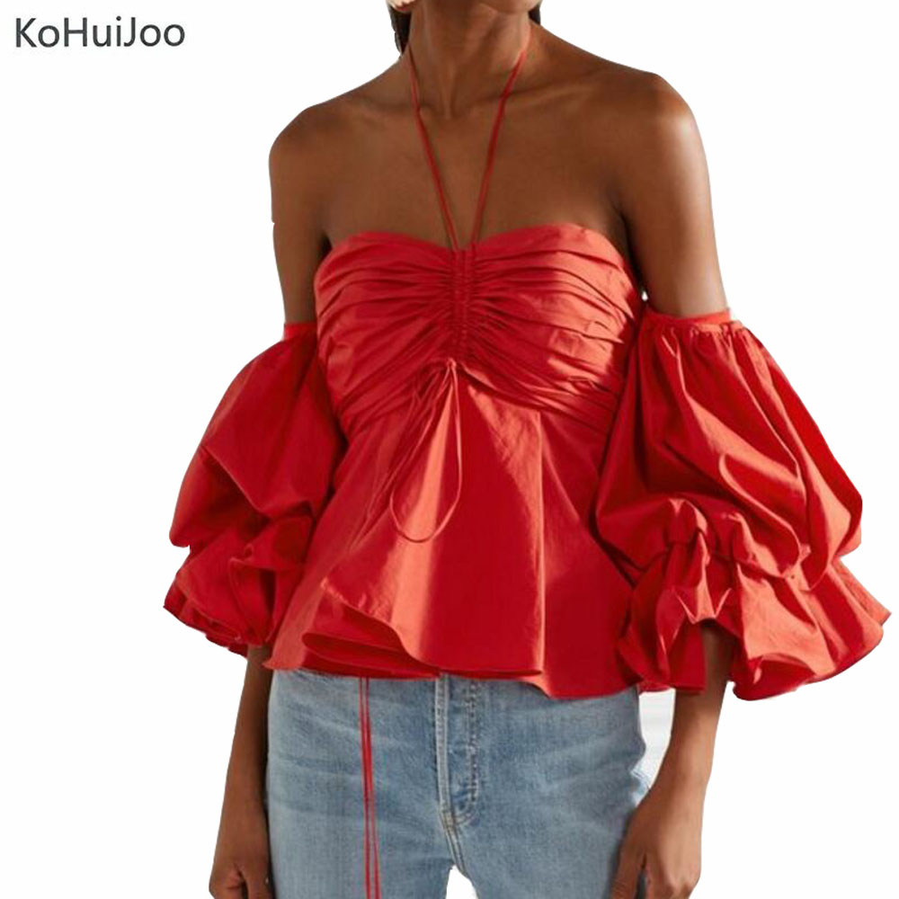 KoHuiJoo Summer Ruffled Halter neck Blouse and Shirts Women Fashion Lantern Sleeve Off Shoulder Tops White Red blusa feminina