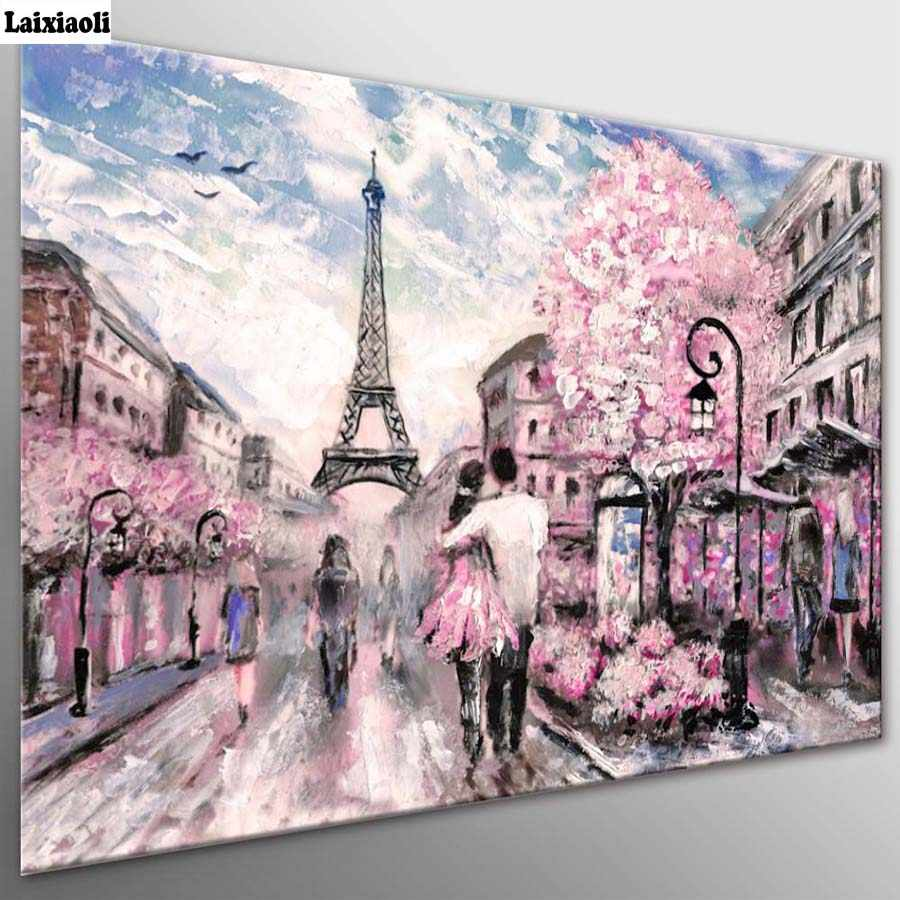 Diamond painting Cross Stitch,Diamond Embroidery,City Scape Pink Paris Street Mosaic,romantic couple picture wedding decoration