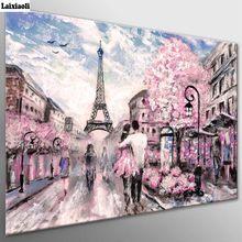 Diamond painting Cross Stitch,Diamond Embroidery,City Scape Pink Paris Street Mosaic,romantic couple picture wedding decoration