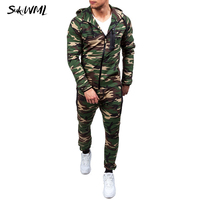 SUKIWML Hooded Tracksuit Men 2018 New Camouflage Men's Sweat Suits Set Zipper Sweatsuit Set Winter Warm Men Set Plus Size S 2XL