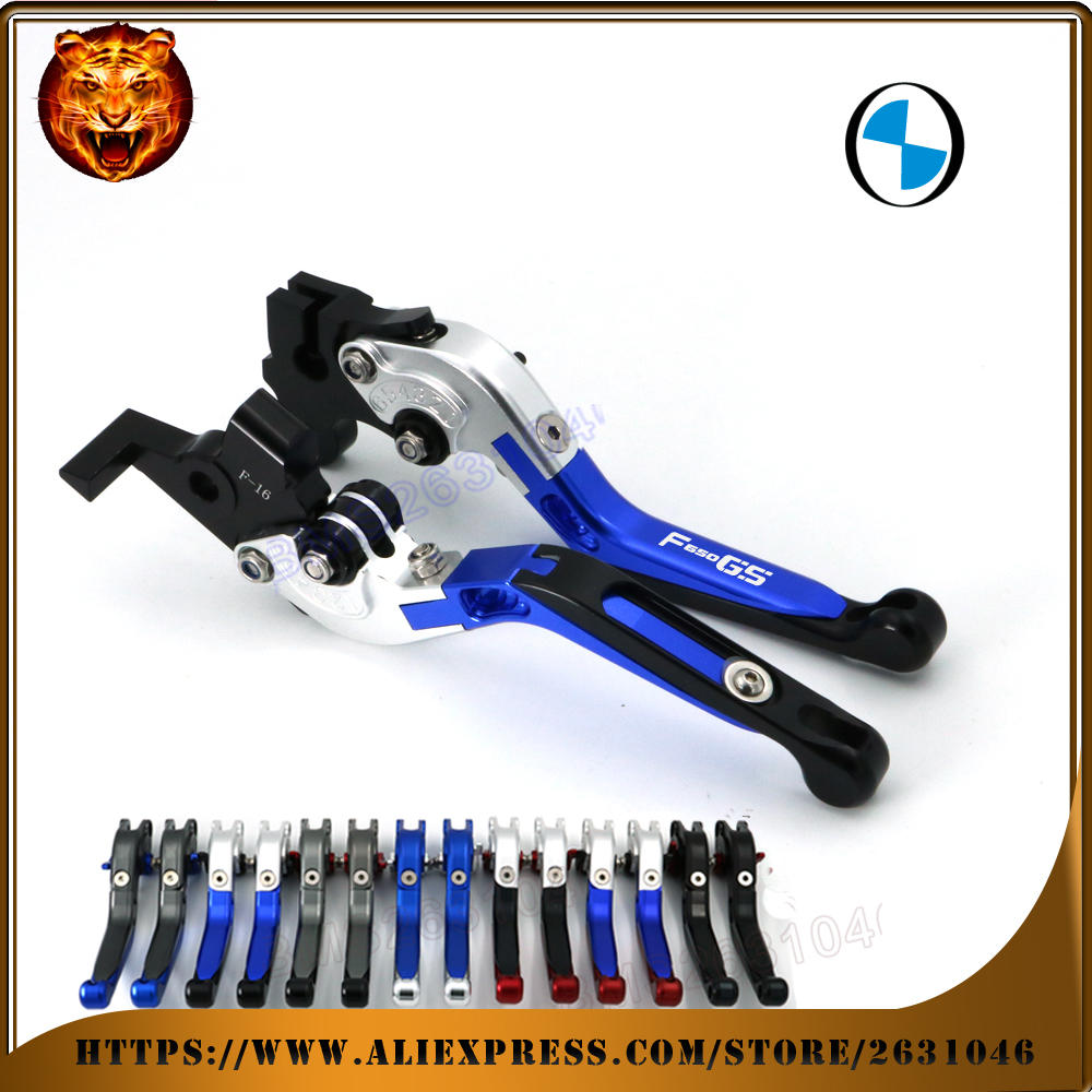 For BMW F650GS F650 GS Dakar 650GS 2003-2007 LOGO BLACK BLUE  Motorcycle Adjustable Folding Extendable Brake Clutch Lever