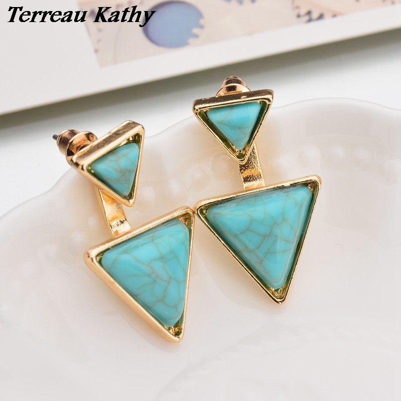 Terreau Kathy New Fashion Gold Color Geometric Triangle Stud Earrings For Women Fine Jewelry bijoux brincos