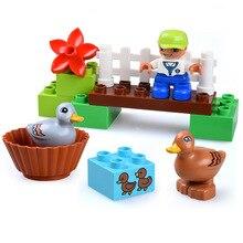 13PCS Educational Model Large DIY Bricks Building Blocks Sets Animals Farm With Ducks Kids Children Toys Compatible Duploe