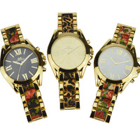 Hot Selling Vintage Two Tone Floral Watch For Ladies Luxury Big Dial Flower Bracelet Watch Women