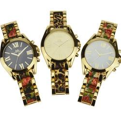 Vente chaude vintage deux tons floral montre pour dames de luxe grand cadran fleur bracelet montre femmes montre femme marque de luxe