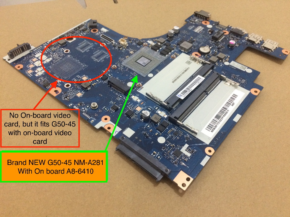 Brand NEW ACLU5 / ACLU6 NM-A281 REV:1.0 mainboard For Lenovo G50-45 Laptop motherboard with AMD A8-6410 on board cpu