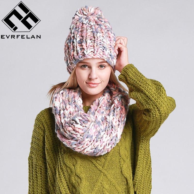meilleure sélection 9b24c 75a0c € 13.35 45% de réduction|2019 mode tricot hiver écharpe chapeau hiver chaud  chapeau pour femmes fille bonnets épais femme Bonnet écharpe ensemble ...