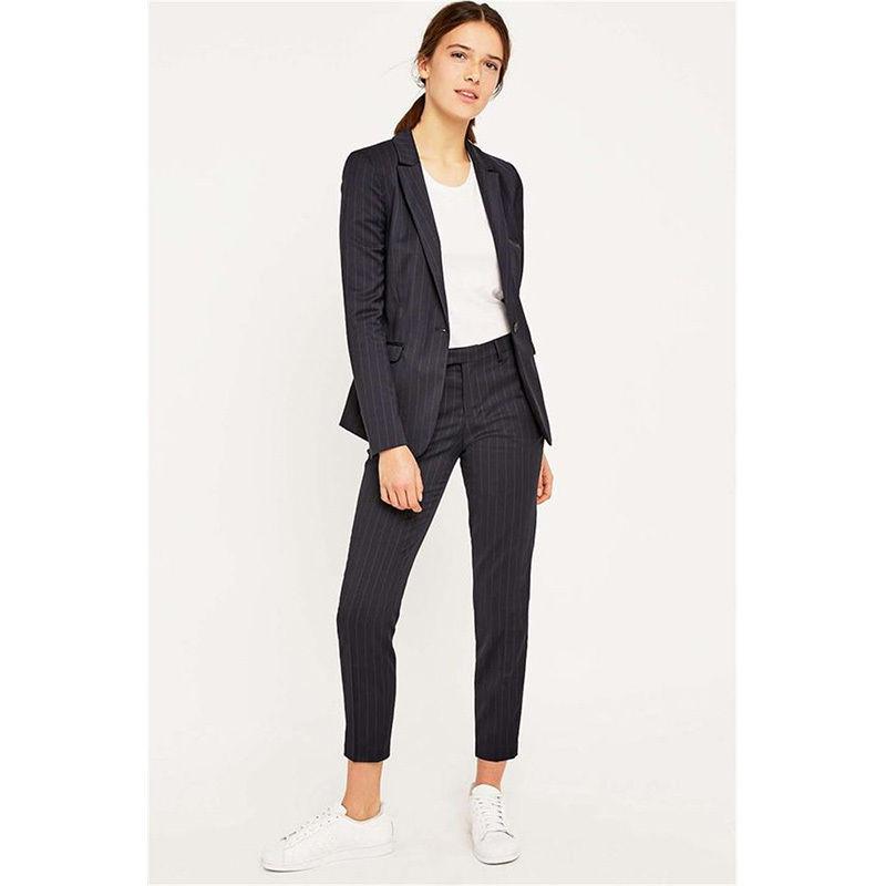New Design Black Womens Business Suits 2 Piece Set Stripe Blazer Pants Female Work Office Uniform Custom B21